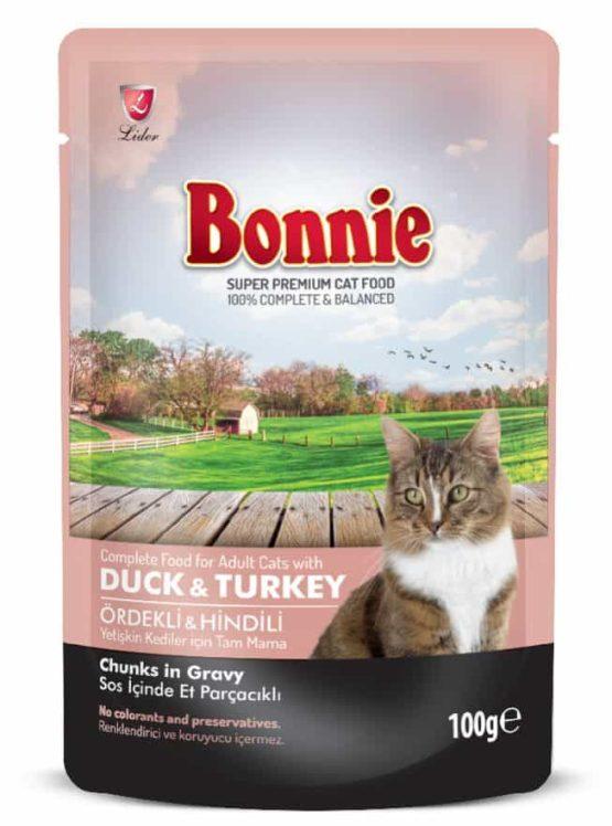 BONNIE POUCH ADULT CAT FOOD DUCK & TURKEY