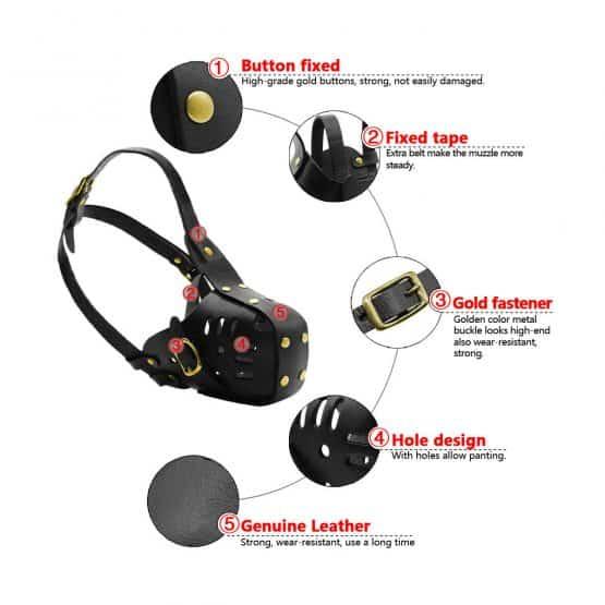 Adjustable Leather Safety Dog Muzzle - measurements