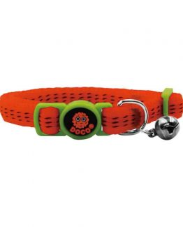 Doco Puffy Nylon Cat Collars with Safety Buckle - orange