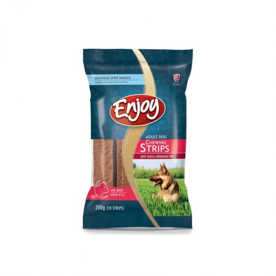 Enjoy Chew Strip Treats with Beef for Dog