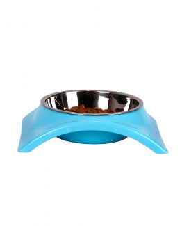 Stainless Steel Single Dog Feeding Bowl - blue
