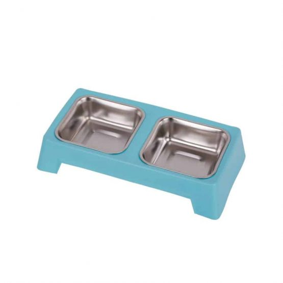 Stainless Steel Double Dog Feeding Bowl - blue