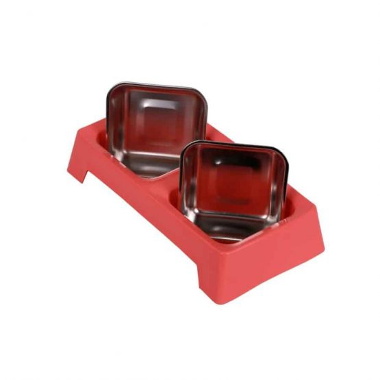 Stainless Steel Double Dog Feeding Bowl - pink
