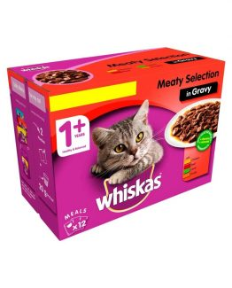 Whiskas Pouch Adult Meat Selection in Jelly package