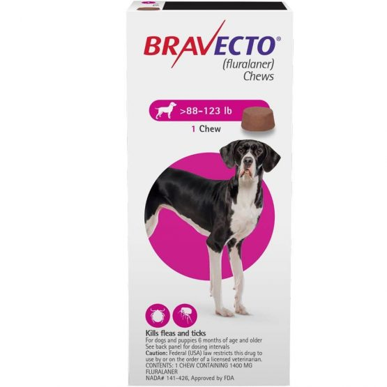 Bravecto Flea and tick treatment for dogs, 1dose, 40kg - 56kg